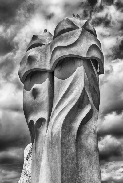 Iconic chimneys on rooftop of Casa Mila, Barcelona, Catalonia, Spain