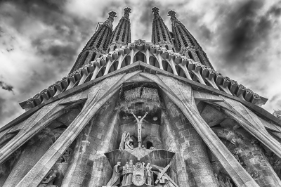 Passion Facade of the Sagrada Familia, Barcelona, Catalonia, Spain