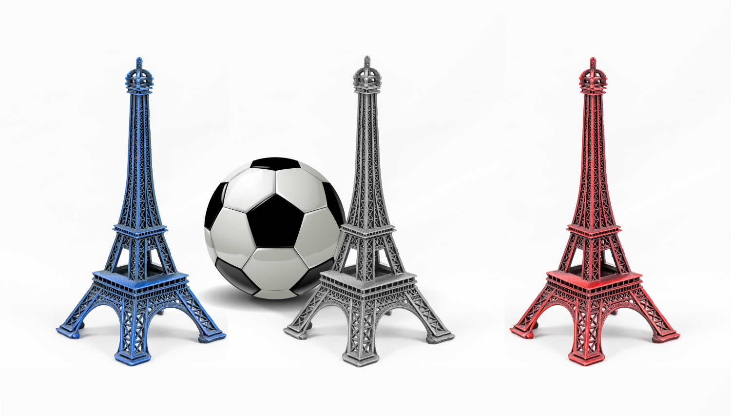 Multicolored Eiffel Tower models