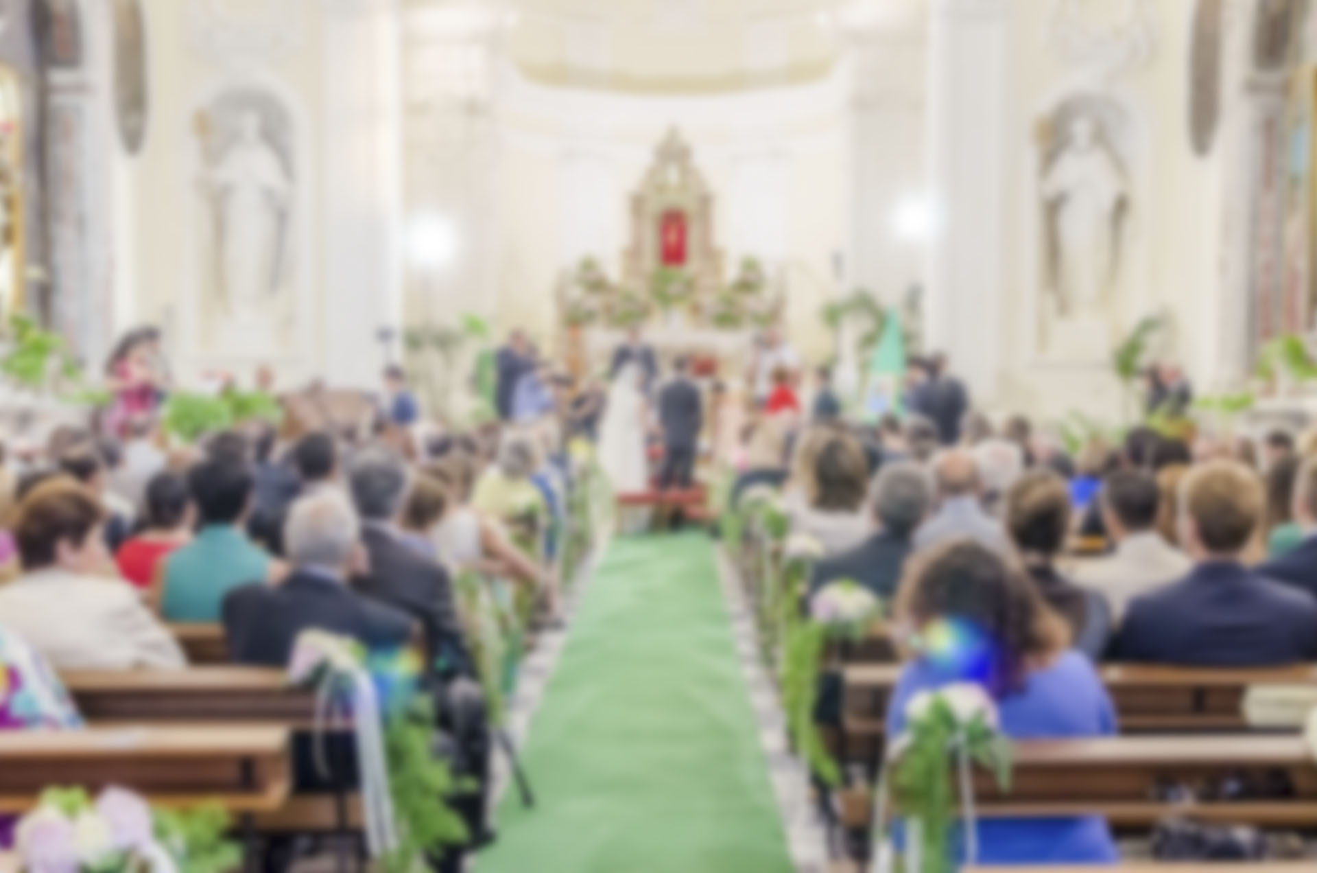 Defocused background of a wedding in a catholic church