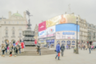 Defocused background of Piccadilly Circus in London