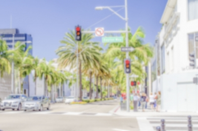 Defocused background of Rodeo Drive shopping district in Beverly Hills