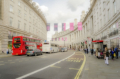 Defocused Background of Regent Street in London. Intentionally blurred post production