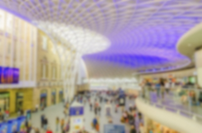 Defocused Background of Kings Cross Station in London. Intentionally blurred post production