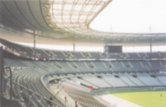 Defocused background of the Stade de France in Saint Denis, Paris