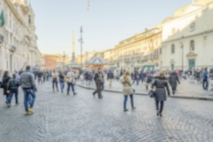 Defocused background of Piazza Navona, iconic square in Rome, Italy