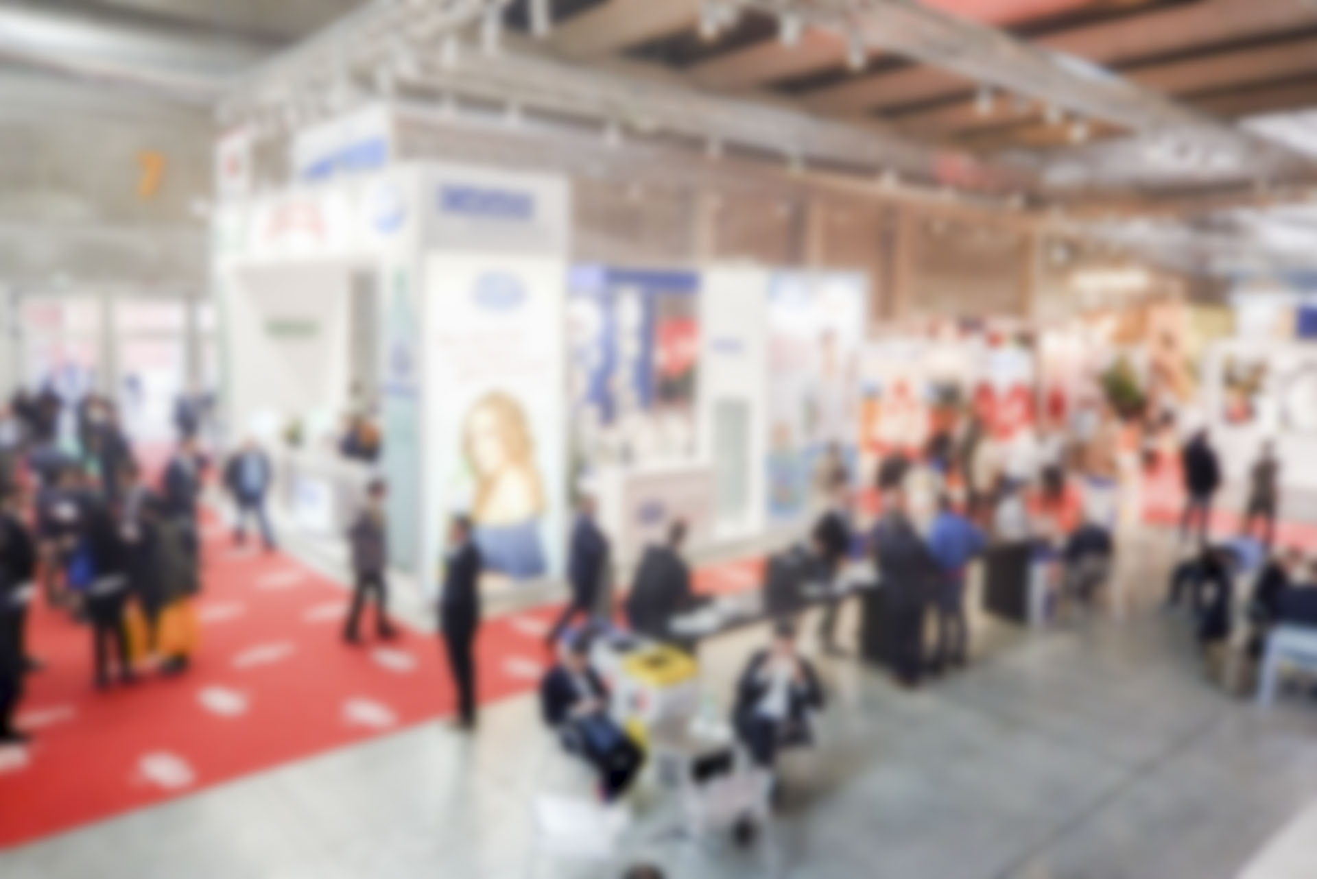 Defocused background of a trade show