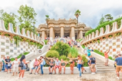Defocused background with entrance of Park Guell, Barcelona, Catalonia, Spain