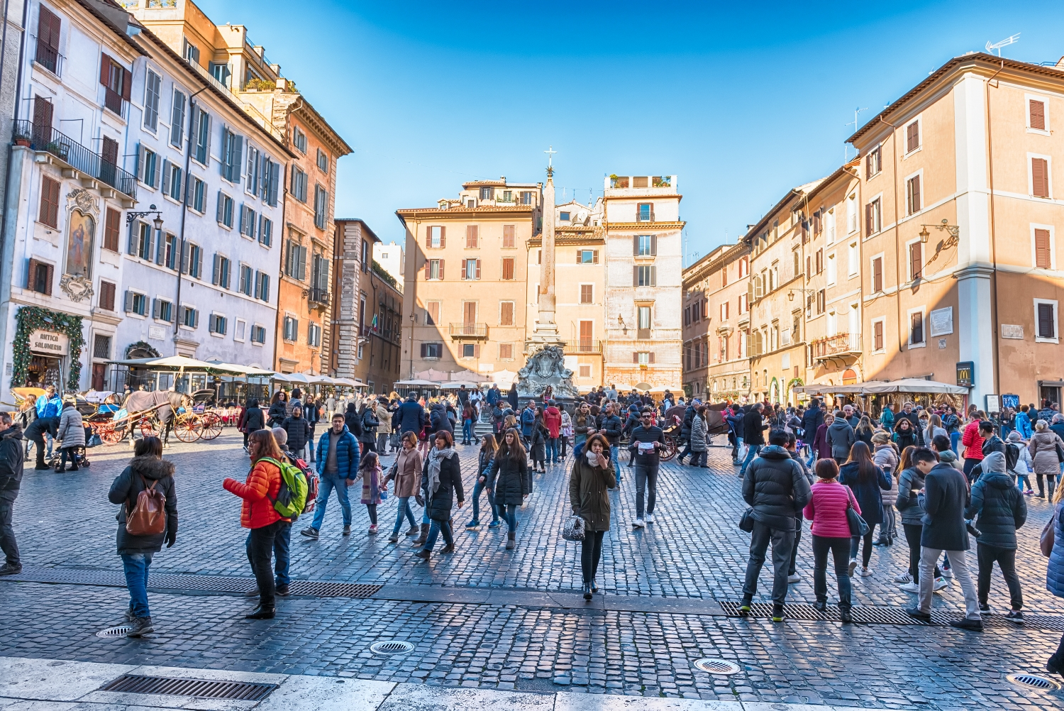Piazza della Rotonda in front of the Pantheon, Rome, Italy