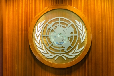 UN logo at the Headquarters of the United Nations