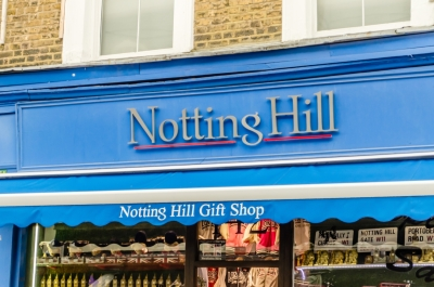 "The sign of a gift shop that was the set for Hugh Grant's book shop in the film ""Notting Hill"", London"