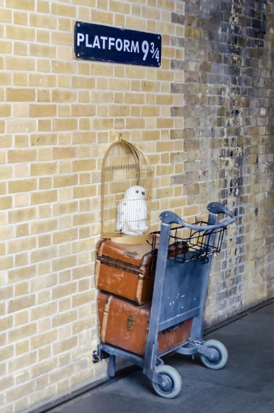 Kings Cross station wall visited by fans of Harry Potter