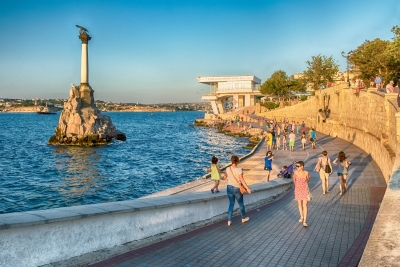 Sunken Ships memorial, iconic monument and landmark in Sevastopol, Crimea