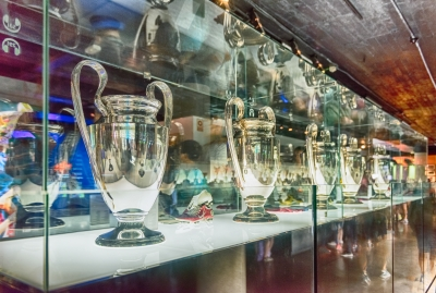 Row of Champions League cups, Barcelona, Catalonia, Spain