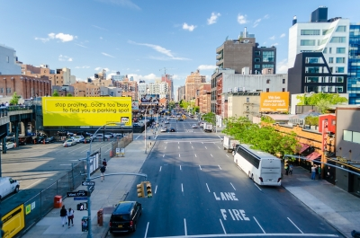 the 10th Avenue from the High Line Park in Midtown Manhattan, New York
