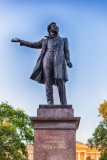 Monument to the great russian poet Alexander Pushkin on Arts Square, St Petersburg, Russia