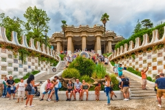Main entrance and staircase of Park Guell, Barcelona, Catalonia, Spain