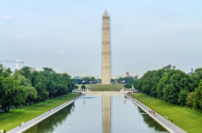The iconic Washington Monument and Reflecting Pool, Washington DC, USA