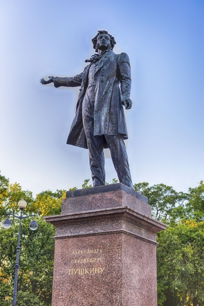 Monument to Alexander Pushkin on Arts Square, St Petersburg, Russia