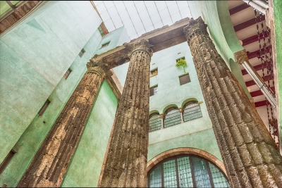 Roman columns of the Temple of Augustus, Barcelona, Catalonia, Spain