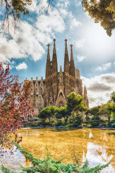 Scenic view of the Sagrada Familia, Barcelona, Catalonia, Spain