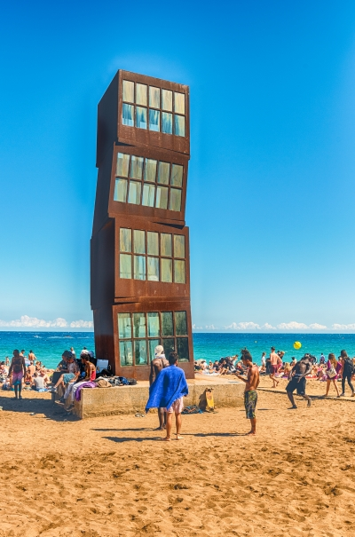 Monument on La Barceloneta beach, Barcelona, Catalonia, Spain