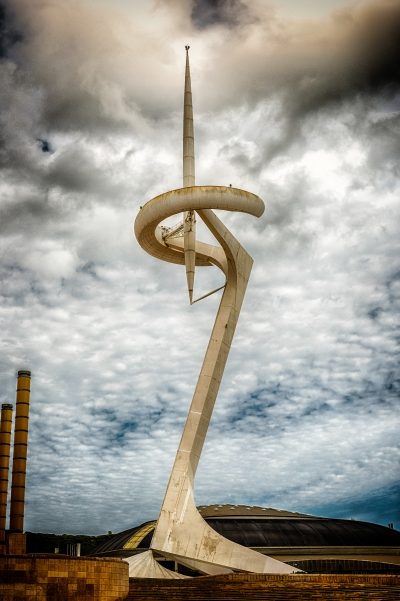 Montjuic Communication Tower in the Olympic Park of Barcelona, Catalonia, Spain