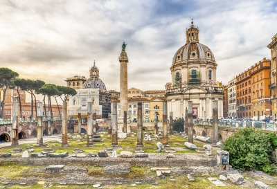 """Scenic ruins of the Trajan's Forum and Column, Rome, Italy - <a href=""""https://marcorubinophoto.com/product/scenic-ruins-of-the-trajans-forum-and-column-rome-italy-3"""">BUY NOW</a>"""