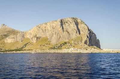 View from the sea of San Vito Lo Capo, Trapani, Italy