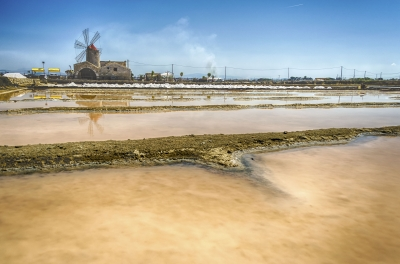 The salt flats of Trapani, Sicily, Italy