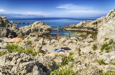 Mediterranean beach in Milazzo, Sicily, Italy
