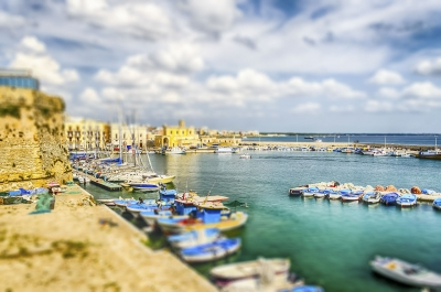 Scenic view of Gallipoli, Salento, Italy. Tilt-shift effect applied