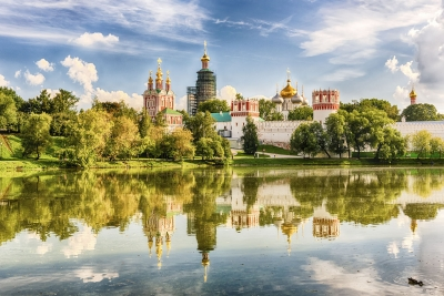 Idillic view of the Novodevichy Convent monastery in Moscow, Russia