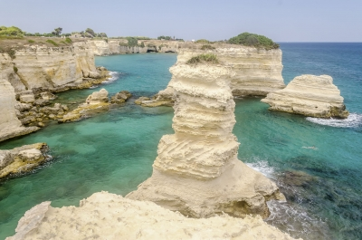 Scenic rocky cliffs of Torre Sant Andrea, Salento, Italy