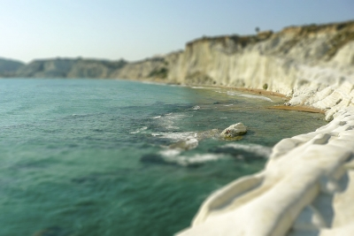 Rocky White Cliffs named Stair of the Turks, Sicily, Italy