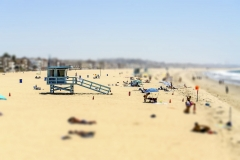 People enjoying a sunny day in Venice Beach, California, USA