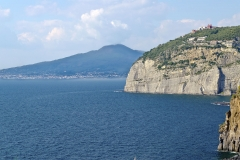 View of the Vesuvius from Sorrento Town in the Bay of Naples, Italy