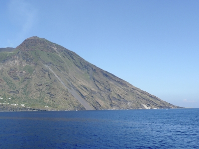 View of Stromboli, volcano of the Aeolian Islands Archipelago, Italy