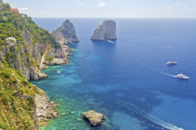 Aerial view of the Faraglioni rocks, island of Capri, Italy