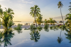 Palms over an infinity pool on the beach, French Polynesia