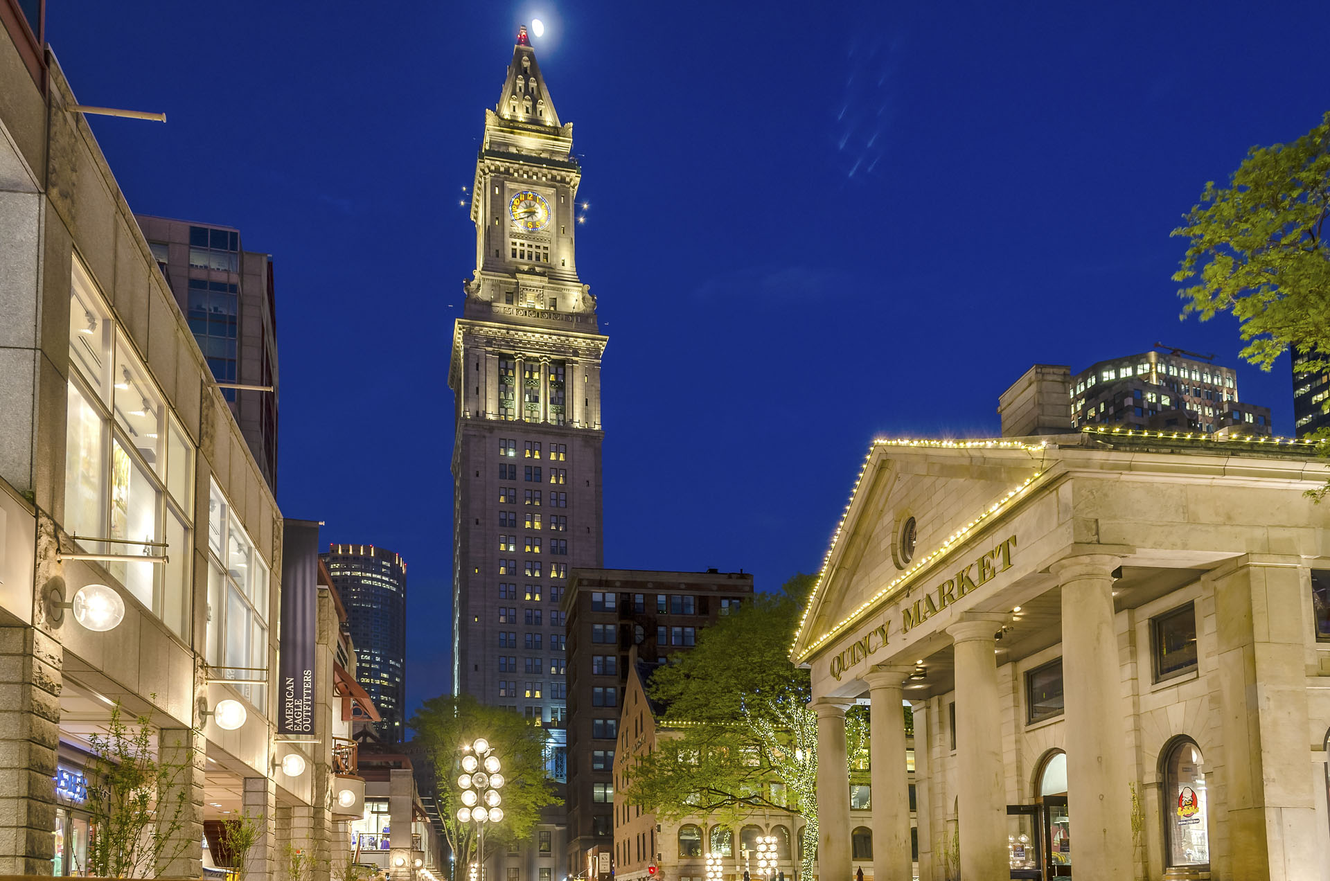Custom House Tower and Quincy Market at night, Boston, USA