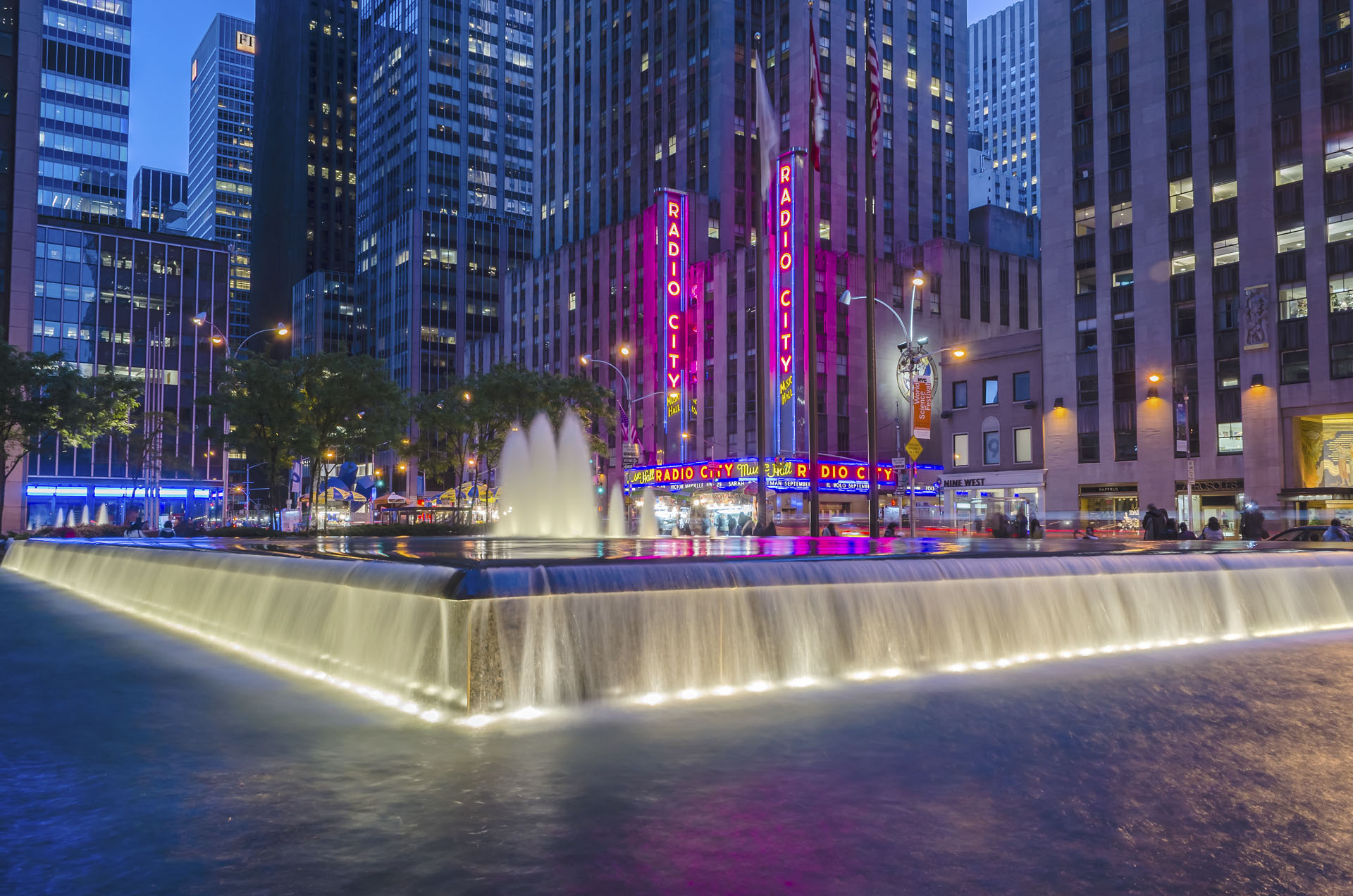 Radio City Music Hall at night, New York City, USA