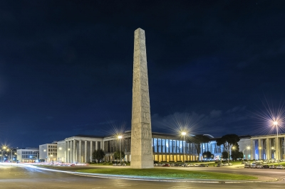The Marconi obelisk, in the EUR district, Rome, Italy