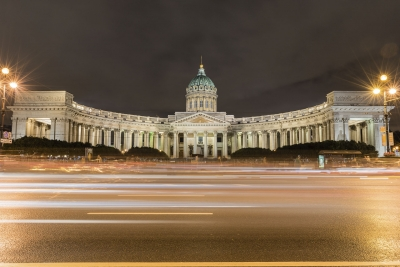 """Facade of Kazan Cathedral at night in St. Petersburg, Russia - <a href=""""https://marcorubinophoto.com/product/facade-of-kazan-cathedral-at-night-in-st-petersburg-russia"""">BUY NOW</a>"""