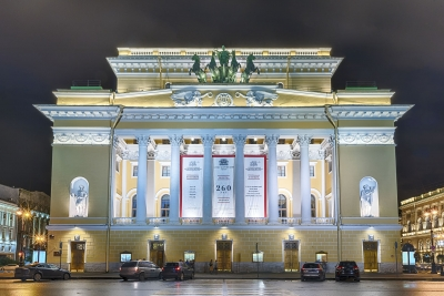"""Facade of the Alexandrinsky Theatre at night, St. Petersburg, Russia - <a href=""""https://marcorubinophoto.com/product/facade-of-the-alexandrinsky-theatre-at-night-st-petersburg-russia"""">BUY NOW</a>"""