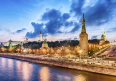 Scenic view over the Beklemishevskaya Tower and Kremlin, Moscow, Russia