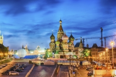 Scenic view of the Red Square at dusk, Moscow, Russia