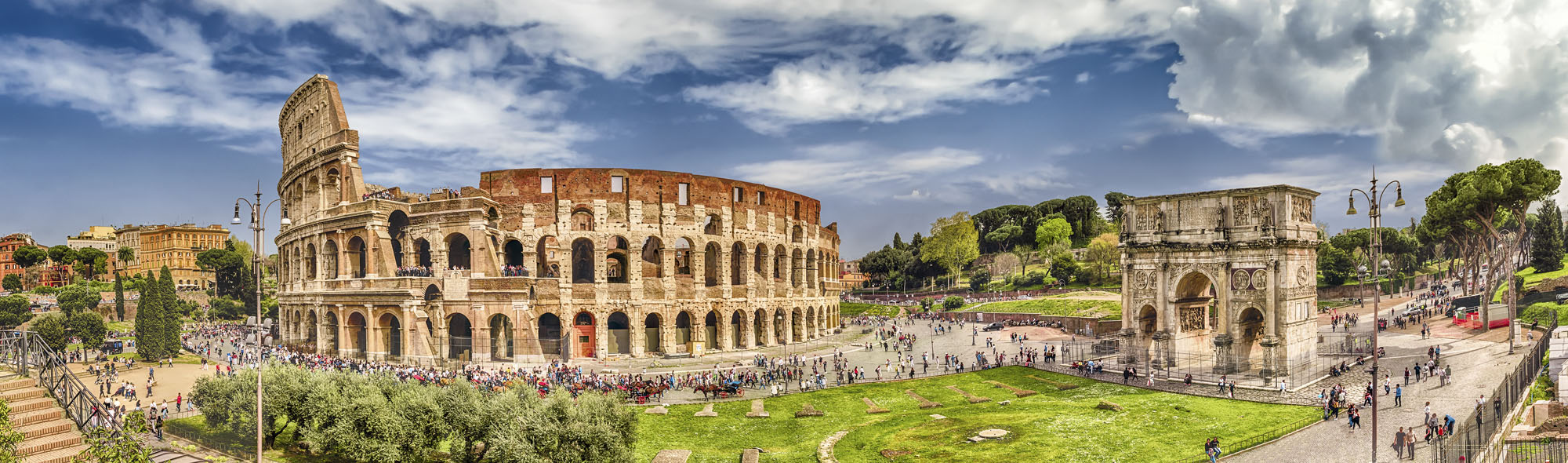 Panoramic view of Colosseum and Arch of Constantine, Rome, Italy