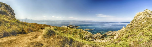Panoramic view of a mediterranean beach in Milazzo, Sicily, Italy