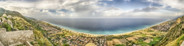 Panoramic aerial view over the coastline in Calabria, Italy